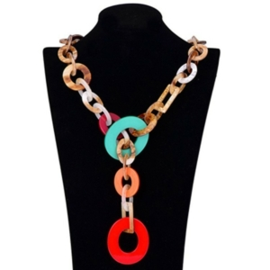 Long multi chain necklace coral red multicolored buy on www.axelles-fashion.com ref NK 1006