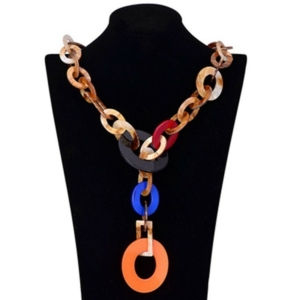 Long multi chain necklace coral red multicolored buy on www.axelles-fashion.com ref NK 1006 orange multicolored buy on www.axelles-fashion.com ref NK 1006