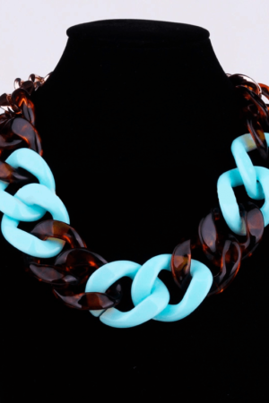 Turquoise tiger print chain necklace buy on www.axelles-fashion.com ref NK1008