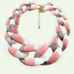Striped large chains necklace in Gray-rose-white exclusive online www.axelles-fashion.com ref NK1020