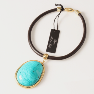 Stylish necklace with large stone gold turquoise Axelles Fashion