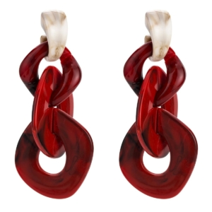 Large tassel chains earrings red beige exclusive online by www.axelles-fashion.com ref 18013