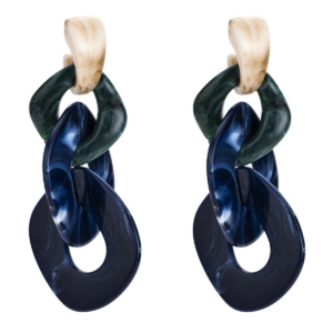 Large tassel chains earrings blue beige exclusive online by www.axelles-fashion.com ref 18013