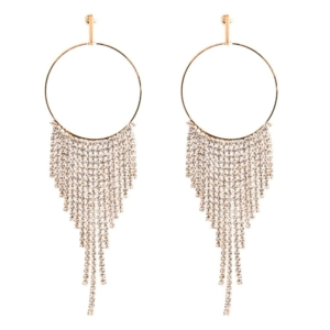 12 cm tassel crystal loop earrings gold buy exclusive Axelles Fashion ref 18080