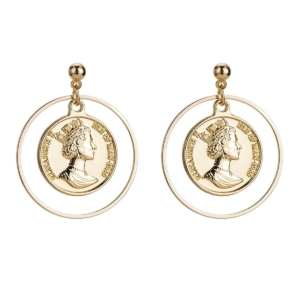 coin loop drop earrings studs gold color www.axelles-fashion.com ref 18047