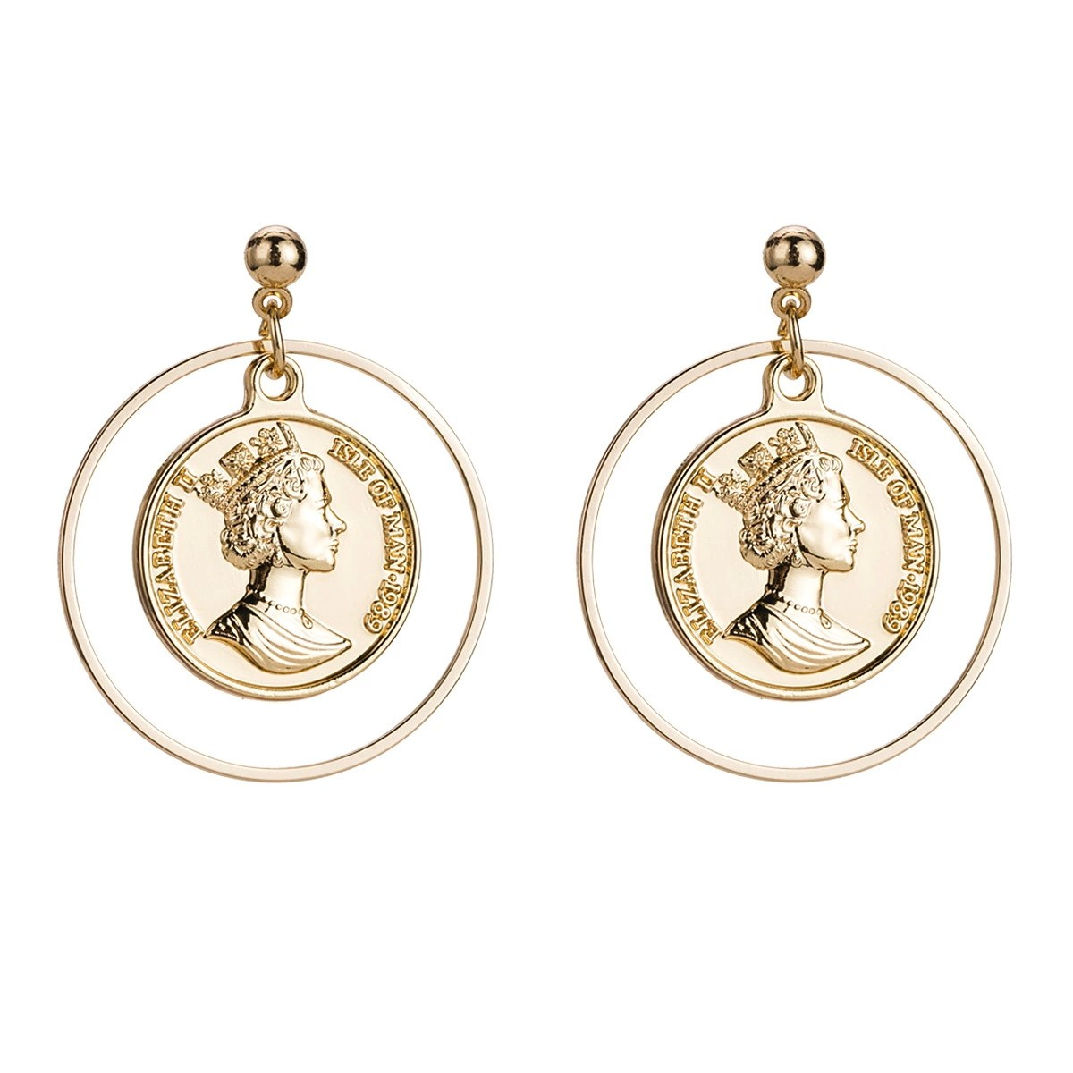 e5ead4ee8 coin loop drop earrings studs gold color www.axelles-fashion.com ref 18047