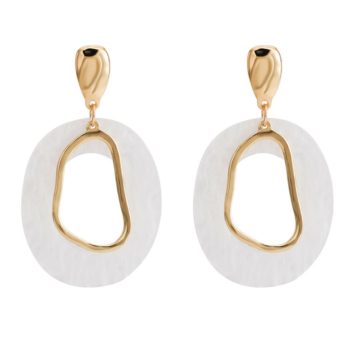 8051092b2 Big drop earrings studs white pearl and gold color parelmoer exclusive  online by www.axelles