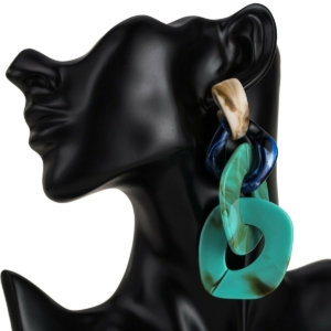 Large tassel chains earrings turquoise blue exclusive online by www.axelles-fashion.com ref 18013