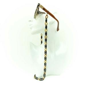 Brilketting, zonnebril,brilkoord, ketting bijoux, trendy brilhouder black-brown, zwart-bruin, buy online kopen www.axelles-fashion.com
