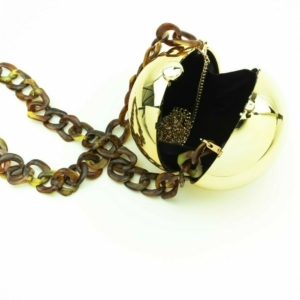 Round ball evening handbag, gold clutch buy, kopen, online, www.axelles-fashion.com
