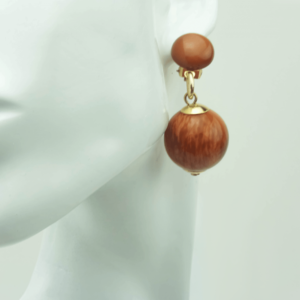 "Clips round-bol ""Tropical Hardwoods""earrings buy online kopen www.axelles-fashion.com"