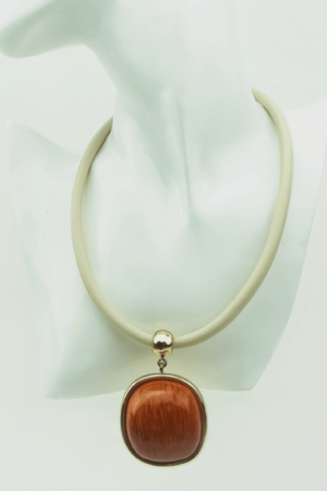 Luxe necklace, gold plated,brown-orange,large,stone,wood, Axelles Fashion
