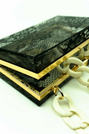 Evening handbag, clutch with Lace effect, vintage, acrylic,lucite, plastic,resin, perplex, chain box, featuring bags buy on www.axelles-fashion.com