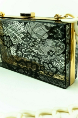 Evening handbag, clutch with Lace effect, vintage, acrylic,lucite, plastic,resin, perplex, chain box, featuring bags