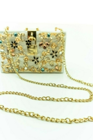 Evening clutch, handbag with flowers embroidery