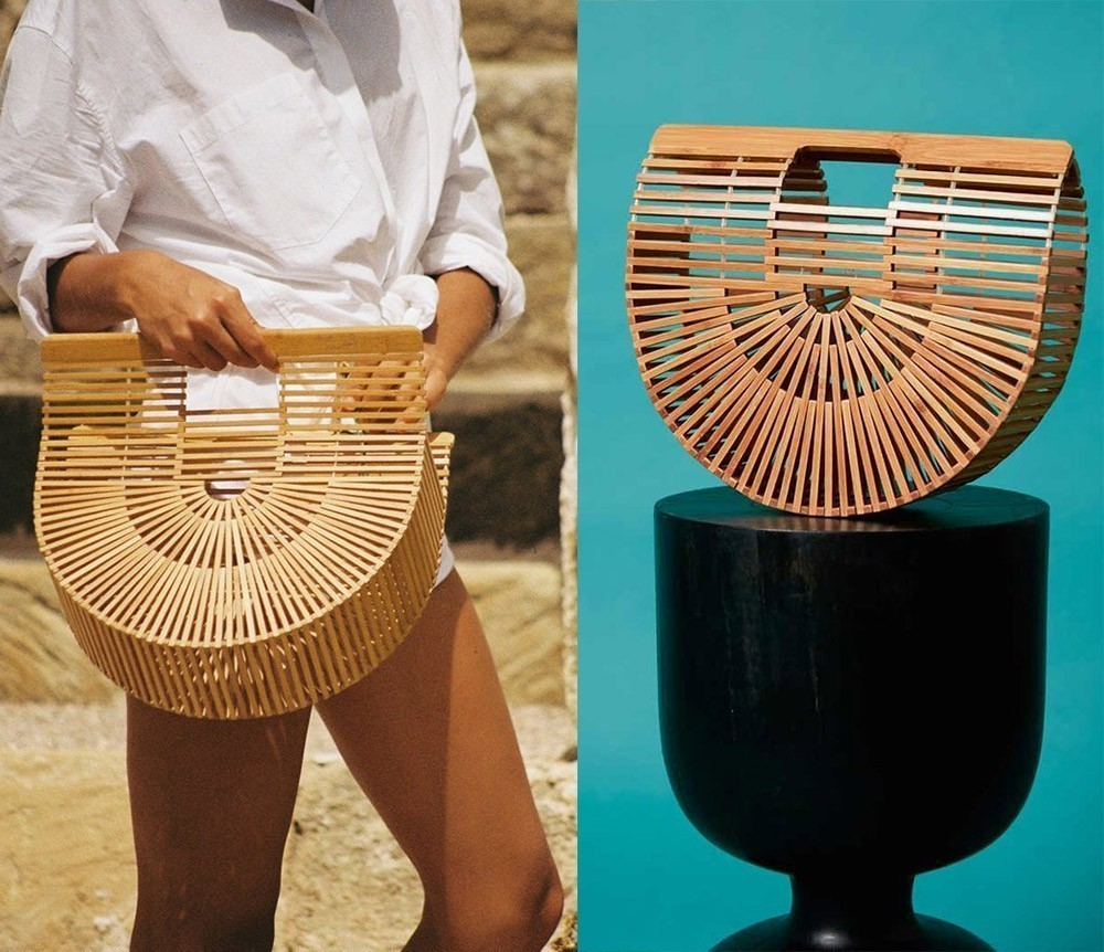 Woven acrylic or bamboo and rafia basket bags trends by Axelles Fashion
