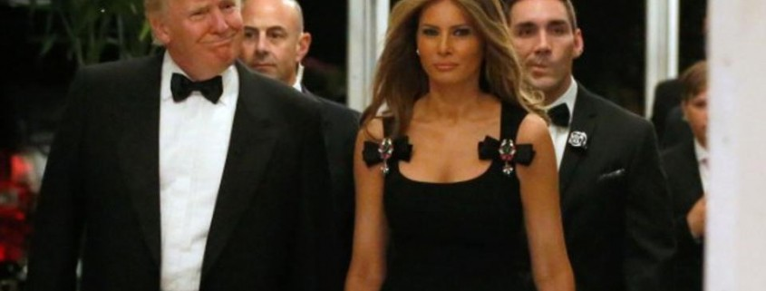 The little black dress, wool and spandex, adorned with bejeweled bows, Melania Trump wore on New Year's Eve.