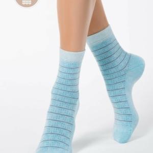 Cachemeren sokken, gestreept, blauw.