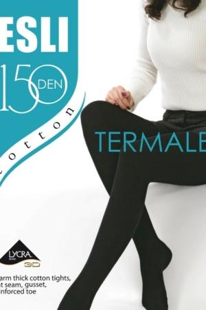 Panties katoen-lycra 150-DEN (THERMO-fleece), zwart