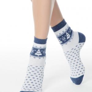 Sokken met badstof zool COMFORT (terry), wit, blauw, 7C-47CP (080), Axelles