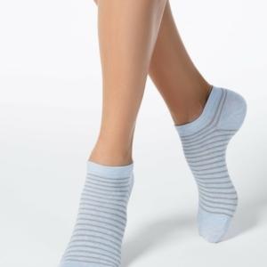 Sneakersokken gestreept met lurex, blauw (121)