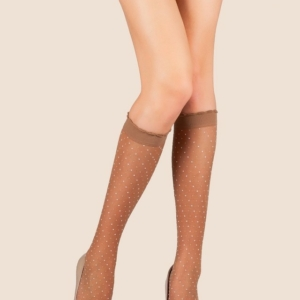 Kniekous/pantykousen voor dames / Woman elastic knee thin socks, ref-8C-19CP. black,white, natural, #AXELLES