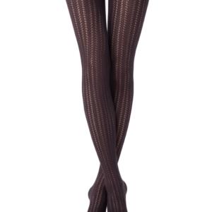 Katoenen panty verticaal gestreept (FASHION), chocolate bruin