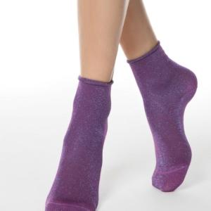 Damessokken (lurex & glitter) oprolbaar boordje, paars, violet,, 17C-16CP (000), #AxellesFashion
