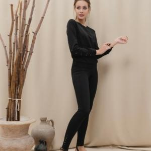 Katoenen sweater/blouse met design /Women's polo neck shirt, article-LD 887, Color: black/zwart, #AxellesFashion