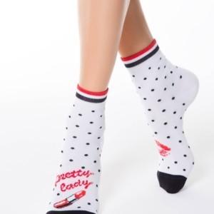 Dameskousen lipstick patroon, sokken, wit, white, article-17C-21CP-097,Axelles