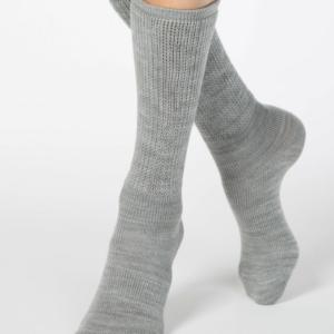 Dikke kniesokken omslagbare band, sokken-plus-hakken, grijs,7C-172CP (000), Axelles