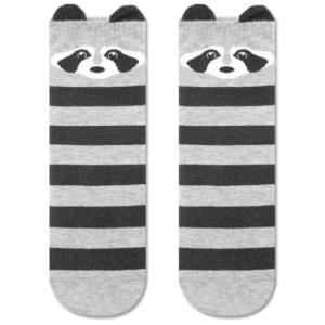 Sokken katten oortjes, zwart-grijs, (317)