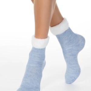 Gemêleerde sokken met ultra-zacht bordje, lichtblauw, wit, 17C-173CP, Axelles