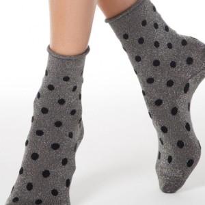 Glitter sokken-in-hakken gesteept dots, oprolbord, zilver grijs, zwart,19C-20CP (155), details, Axelles