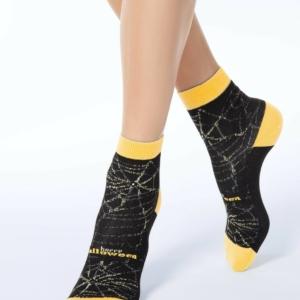 Sokken spinnenweb siersteentjes & lurex, zwart, geel, 7C-46CP (285), Axelles
