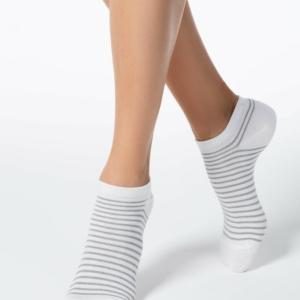 Sneakersokken gestreept met lurex, wit (121)