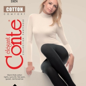 Panties katoen-lycra 250-denier (comfort)/1 Pair 250-Denier Black warm thick cotton tight, flat seam, gusset, reinforced toe, Model: Cotton-Comfort 250, article-15C-47CP, #AxellesFashion