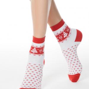 Sokken met badstof zool COMFORT (terry), wit, rood, 7C-47CP (080), Axelles