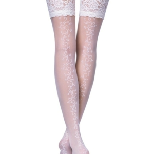 Ceremony nylon hold-ups/stay ups, dames kousen (Wedding elastic stockings, hold-up with lace design, Model: GLORY-20, article-15-58CP, #AxellesFashion