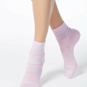 Sokken gestreept ingeweven patroon, roze, pink, 15C-15CP (088). Axelles