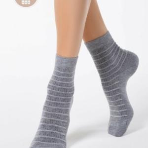 Cachemeren sokken, gestreept, grijs.