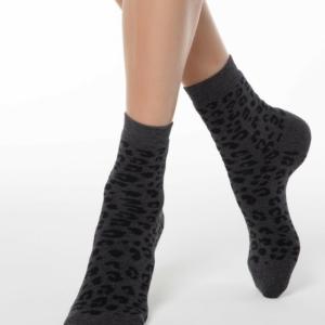 Warme sokken dieren patroon (Leopard), grijs, zwart, 17C-64CP (118), Axelles