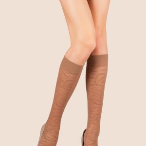 Kniekous/pantykousen met puntjes (dots) patroon voor dames / Women's elastic knee thin socks,Product: 8C-11CP, #AxellesFashion