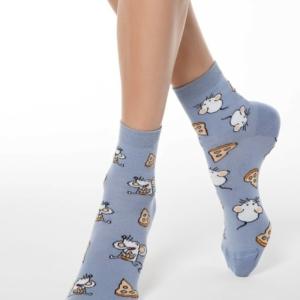 Klassieke sokken leuk patroon,18C-227CP (150), denim, blauw, Axelles