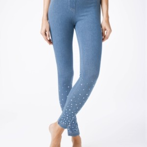 Modieuze jeggings/leggings denim-look / Women's cotton leggings, Model: ALANY NEW, article-18C-597TCP, #AxellesFashion.