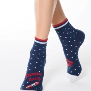 Dameskousen print lipstick, sokken, wit, white, article-17C-21CP-097,#Axelles-Fashion,