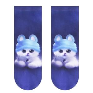 Ondoorschijnend sokken speels design (70-den), blauw, 17C-34CP (005), Axelles