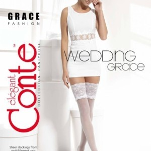 Bruidskousen Hold Up GRACE-20 (stay-ups)/Panty's voor bruid, Wedding elastic stockings, hold-up with lace, Model: GRACE-20, article-15-59CP, #AxellesFashion