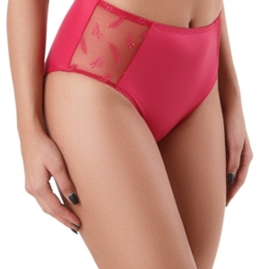 Hoge taille slip Size+, rendezvous, coral red.
