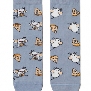 Funsokken mismatched patroon (mouse) op beide voeten oui/owl/Mismatched women socks / Fun socks with mismatched pattern, article-18C-227CP (-150), #AXELLESFASHION